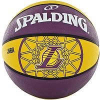 Мяч баскетбольный резиновый №7 SPALDING 83156Z NBA TEAM LAKERS