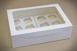 Коробка для 12 кексів, капкейків, мафінів з прозорим вікном