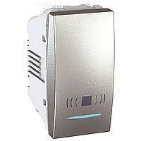 "Вимикач Schneider-Electric Unica кнопка ""дзвоник"" з інд. алюміній. MGU3.106.30 CN"