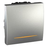 Выключатель Schneider-Electric Unica 1-клавишный 16А с подсвет. алюминий. MGU3.261.30S