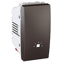 """Выключатель Schneider-Electric Unica кнопка """"свет"""" графит. MGU3.106.12L"""