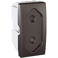 Розетка Schneider-Electric Unica плоcкая с защитными шторками 10А графит. MGU3.031.12