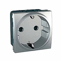 Розетка Schneider-Electric Unica з зазем., захисними шторками алюміній MGU3.037.30