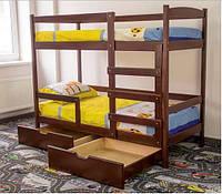 Кровать двухъярусная Мира из натурального дерева 80х190 см с ящиками
