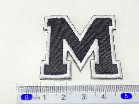 Нашивка буква M  цвет белый, фото 2