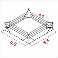 Боксерскиий ринг клубный помост 4,5х4,5х0,6м. канаты 3,5х3,5м.