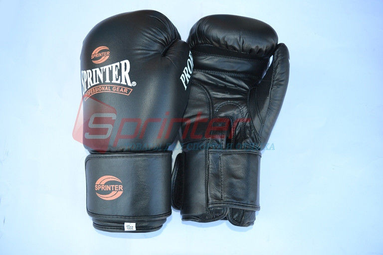 Перчатки боксерские PROF. Натуральная кожа. Черные, 12 унций.