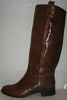 Сапоги женские зимние без каблука коричневые