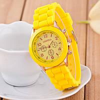 Женские наручные силиконовые часы Geneva yellow