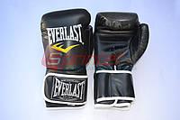 Перчатки боксерские (модель EVERLAST) кож/зам. Черные, 10 унц.