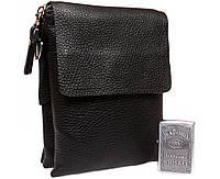 Классическая мужская сумка черного цвета 14х17х3,5см.