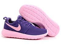 Кроссовки Nike Roshe Run 1 найки рош ран феолет+розовая подошва