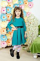 Стильное платье  для девочки изумруд, фото 1