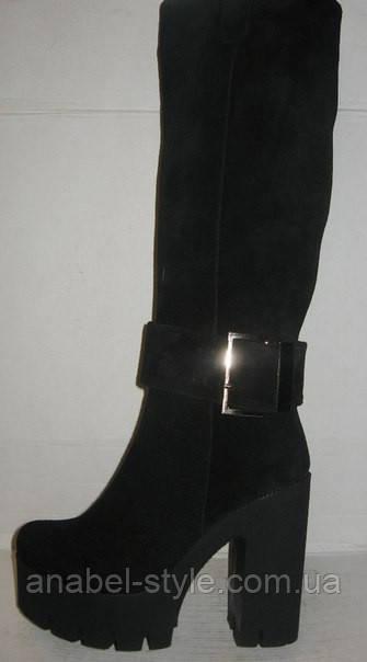 Сапоги женские на толстом каблуке замшевые чёрные Код 173 м