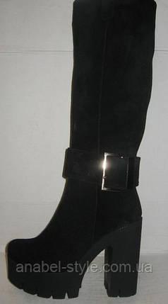 Сапоги женские на толстом каблуке замшевые чёрные Код 173 м, фото 2