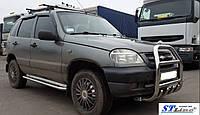 Боковые пороги (подножки) Niva Chevrolet c 2006… с площадкой