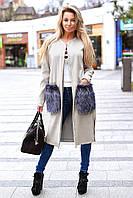Пальто с меховыми карманами 8004 Лаки