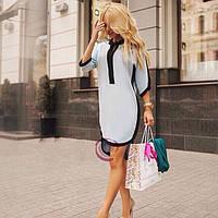 Женское стильное платье-рубашка на лето голубой 42-46
