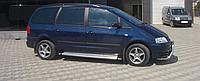 Боковые пороги (подножки) Volkswagen Sharan 1995-2010 с площадкой