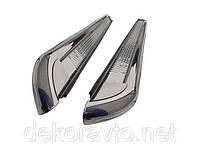 Боковые пороги (подножки) Suzuki Grand Vitara (3D) 2006- с площадкой