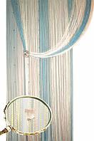 Шторы нити радуга со стеклярусом  5/11/13 (розовый+голубой+шампань)
