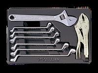 Набор для тележки ключи накидные+разводной ключ 8пр KINGTONY 9-90109MN