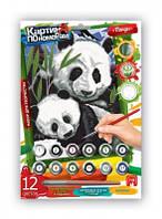 Картина по номерам,12цветов Панда мини