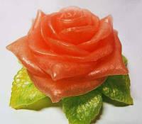 """Силиконовая форма  """"Роза с листиком 3D"""""""