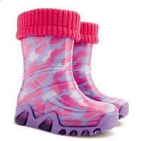 Детские резиновые сапоги Demar сердечки маленькие р.20-35 розовый бирюзовый лиловый