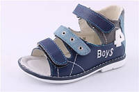 Детские ортопедические босоножки для мальчиков р.24 синие на липучках