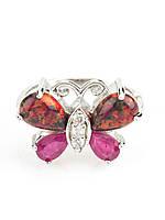Кольцо серебряное с опалом и рубином