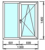 Окно металлопластиковое Rehau 1300x1400