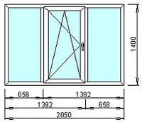 Окно металлопластиковое Rehau 2050x1400