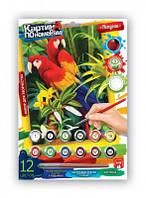 Картина по номерам,12цветов Попугаи мини