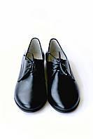 Черные кожаные женские туфли оксфорды со шнуровкой, фото 1