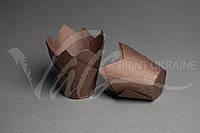 """Бумажная форма для кексов """"Тюльпан"""", коричневая"""