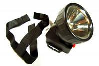 Налобный фонарик, питание от батарейки, 1 диод, фонарик на лоб 1396-1, для монтажников,