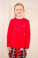 Красивая нарядная недорогая трикотажная  кофточка для девочки с поясом.