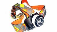 Налобный фонарь 055, яркая расцветка, надежный долгий свет, фонарик на лоб, на батарейках, налобные фонари