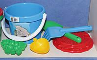 """Игровой набор для песочка """"Ориоша"""": Ведерко Ориончик + лопатка + грабли + ситечко +2 пасочки."""