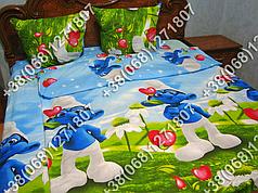 Детское полуторное постельное белье Смурфики