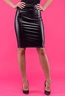 Юбка женская до колен с двухсторонней молнией - Черный