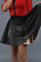 Юбка женская с перфорированной кожей - Бежевый