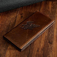 Эксклюзивное мужское портмоне из натуральной кожи с изображением орла.(В наличии темно-коричневый)