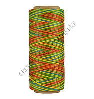 Нитка вощёная по коже (плоский шнур), т. 0.8 мм, 100 м, цв.разноцветный