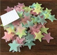 Наклейка виниловая светящаяся Звёзды разноцветные (100 шт.) 3D декор