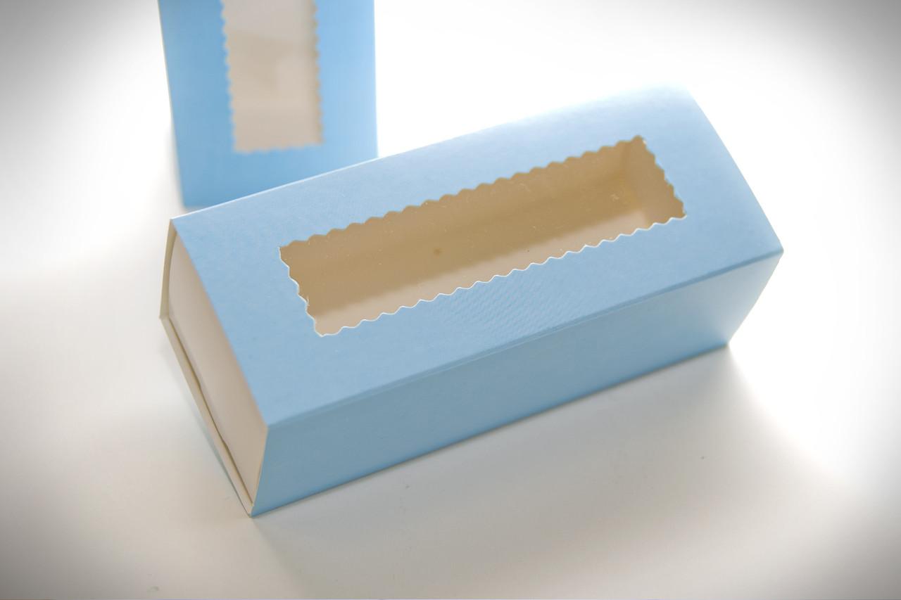Коробка для Macaron  с окошком голубая 14см x6см.Украина- 04669