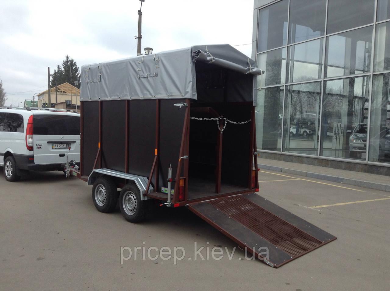 Причіп для транспортування коней 3,8 м х 1,6 м. Ресорний. Гальма.