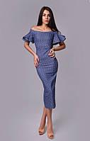 Женское джинсовое длинное платье с открытыми плечами