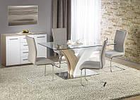 Стол стеклянный Vilmer Дуб Сонома + белый